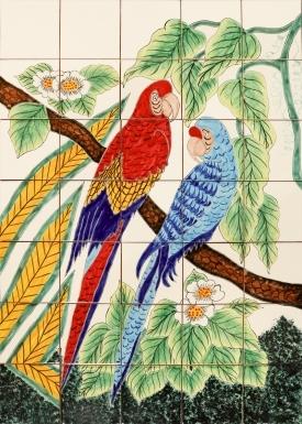 Guacamayas Ceramic Tile Mural