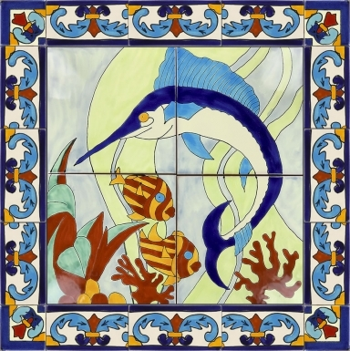 Marlin with Fish 1 Ceramic Tile Mural