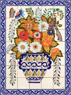 Vase and Flowers Ceramic Tile Mural