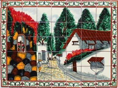 Calle de Pueblo 2 Ceramic Tile Mural