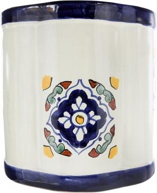 Guadalajara Ceramic Mexican Talavera Wastebasket