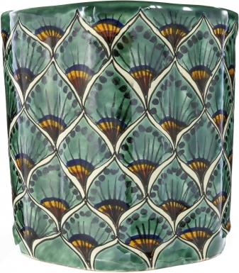 Green Peacock Ceramic Mexican Talavera Wastebasket