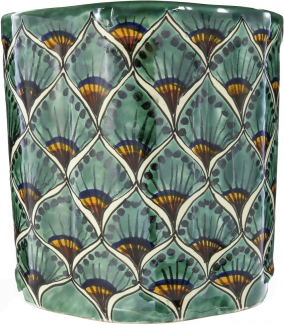 Green Peacock Ceramic Mexican Talavera Wastebasket