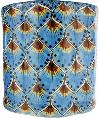 Turquoise Peacock Ceramic Mexican Talavera Wastebasket