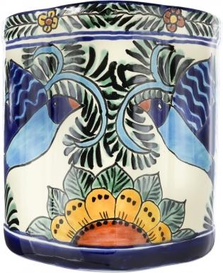 Hummingbird Ceramic Mexican Talavera Wastebasket