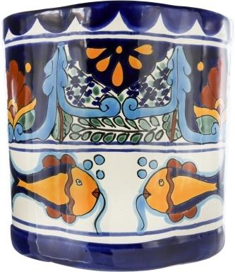 Acapulco Ceramic Mexican Talavera Wastebasket