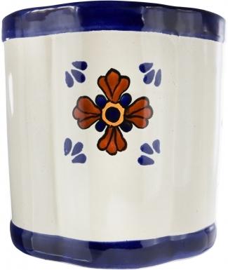 Seville Ceramic Mexican Talavera Wastebasket
