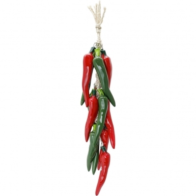 Red and Green Cayenne - Ceramic Ristra