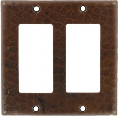 Antique Double GFI Rocker - Copper Switchplate