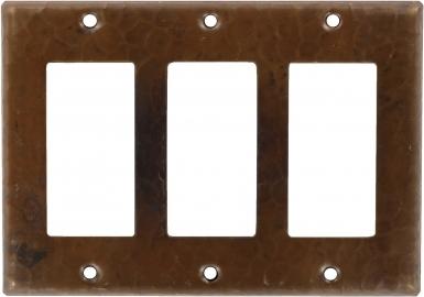Antique Triple GFI Rocker - Copper Switchplate