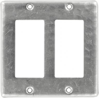 Brushed Nickel Double GFI Rocker - Copper Switchplate
