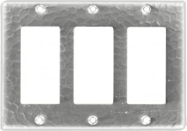 Brushed Nickel Triple GFI Rocker - Copper Switchplate