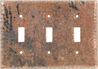 Natural Triple Toggle - Copper Switchplate