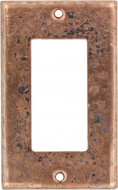 Natural Single GFI Rocker - Copper Switchplate