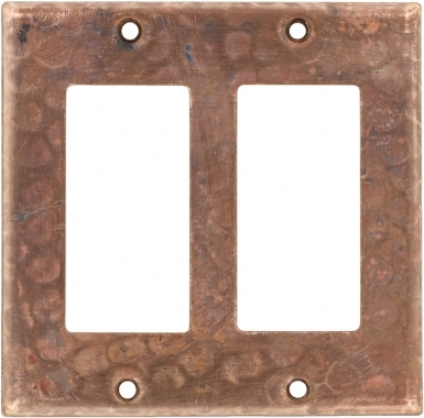 Natural Double GFI Rocker - Copper Switchplate