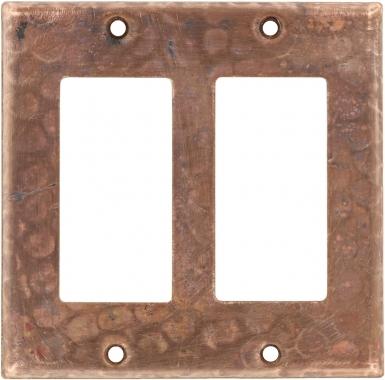 Natural Double GFI Rocker - Copper Switchplate
