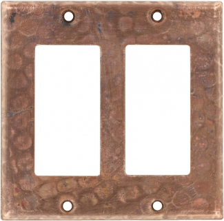 Double Gfi Rocker Copper Switchplate Natural