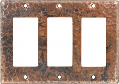 Natural Triple GFI Rocker - Copper Switchplate