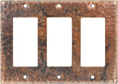 Natural Triple GFI Rocker - Copper Switchplate