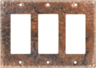 Triple Gfi Rocker Copper Switchplate Natural