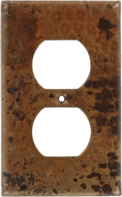 Natural Single Duplex Outlet - Copper Switchplate