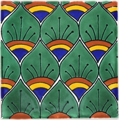 Green Peacock Feathers Terra Nova Mediterraneo Ceramic Tile