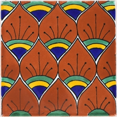 Rust Peacock Feathers Terra Nova Mediterraneo Ceramic Tile