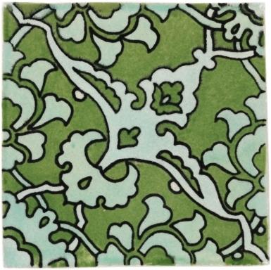 Quarter Bedonia Green Handmade Siena Vetro Ceramic Tile