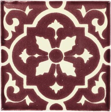 Amria White & Maroon Dolcer Ceramic Tile