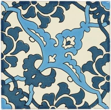 Quarter Bedonia Teal Sevilla Handmade Ceramic Floor Tile