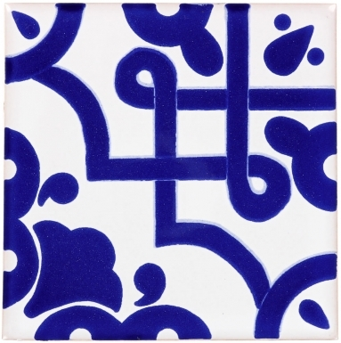 Mosaico Azul on Pure White Sevilla Handmade Ceramic Floor Tile