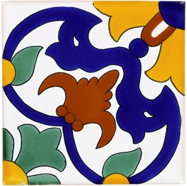 Carnaval on Pure White Sevilla Handmade Ceramic Floor Tile
