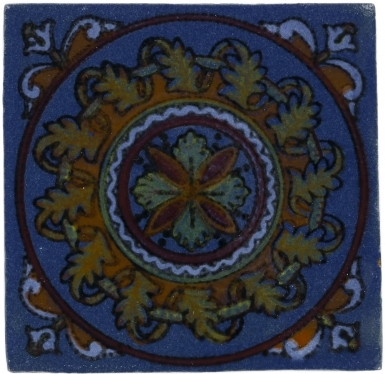 Blue Guirnaldas Handmade Siena Vetro Ceramic Tile