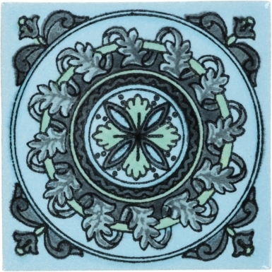 Turquoise Guirnaldas Handmade Siena Vetro Ceramic Tile
