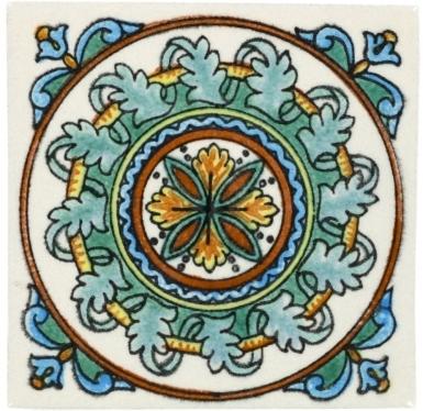 White Guirnaldas Handmade Siena Vetro Ceramic Tile