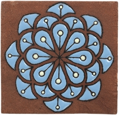 Turquoise Peacock Flower Tierra High Fired Tile