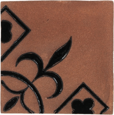 Black Flor de Liz Tierra High Fired Handcrafted Tile