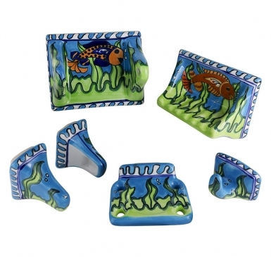 Caribe Hand Painted Porcelain Accessories for Bathroom