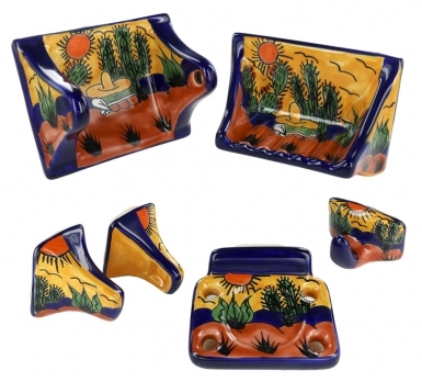 Southwest Hand Painted Porcelain Accessories for Bathroom