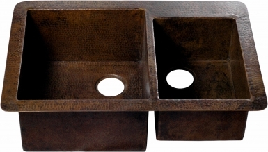 Rectangular Dual Undermount Antique - Copper Kitchen Sink
