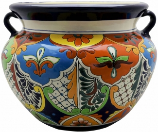 Mexican Talavera Large Round Planter 1