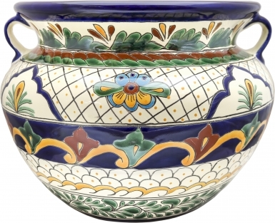 Mexican Talavera Large Round Planter - Vallarta