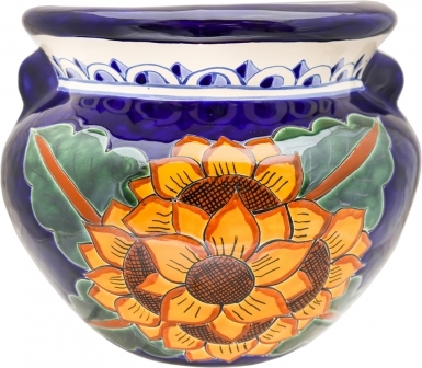 Mexican Talavera Small Round Planter - Sunflowers