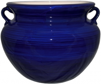 Mexican Talavera Large Round Planter Cobalt Blue