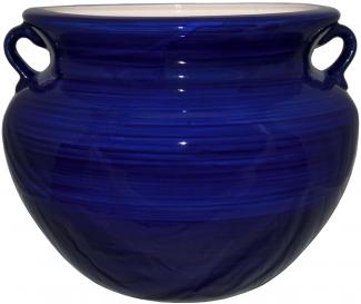 Mexican Talavera Large Round Planter Cobalt Blue