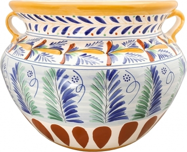 Mexican Talavera Large Round Planter - Sunburst