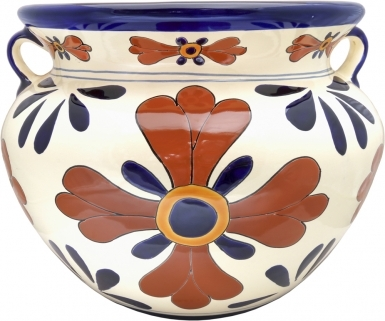 Mexican Talavera Large Round Planter - Blue Seville