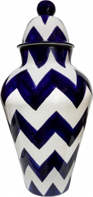 Blue & Pure White Harlequin - Large Ceramic Ginger Jar