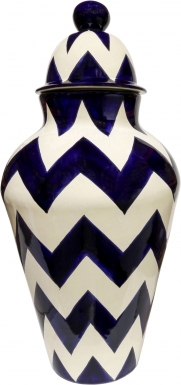 Blue & Mexican White Harlequin - Large Ceramic Ginger Jar