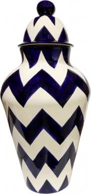 Blue & Mexican White Harlequin - Large Ceramic Ginger Jar